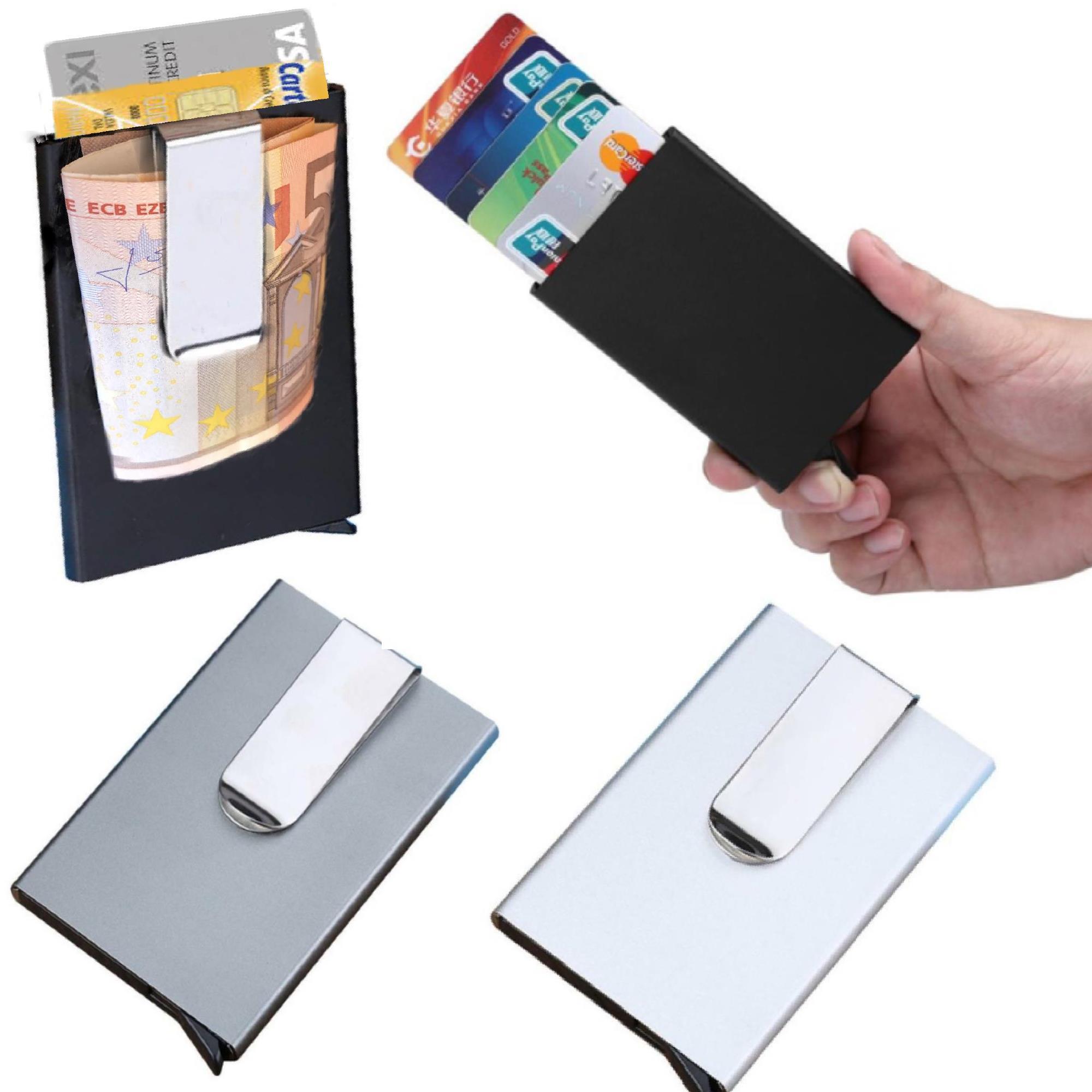 Porta carte di credito in alluminio da uomo donna fermasoldi con clip slim rfid